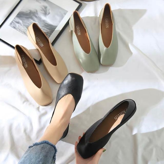 スクエアトゥフラットシューズ(グリーン・ベージュ・ブラック)|楽 履きやすい 柔らかい