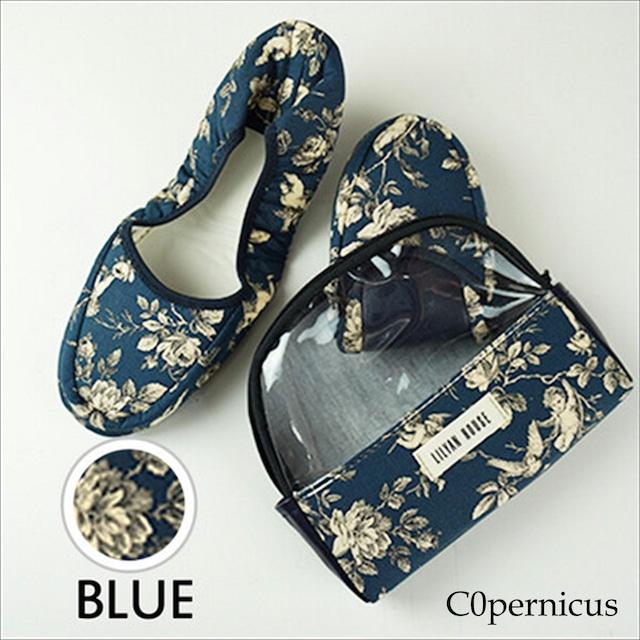 携帯スリッパ ポーチ付き 【Blue E】/折り畳みスリッパ/ルームシューズ 浜松雑貨屋 C0pernicus