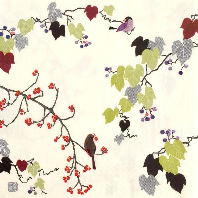 【FRONTIA】バラ売り1枚 ランチサイズ ペーパーナプキン 秋のおとずれ アイボリー
