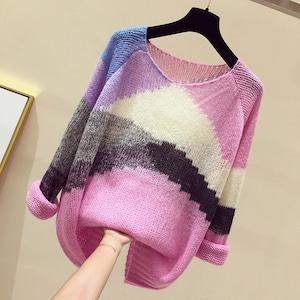 【トップス】最愛の一着 キュート ニット 配色 ラウンドネック 透かし彫り ニット·セーター52668989