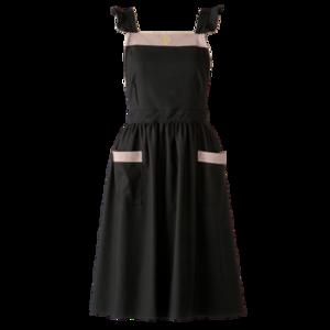 Bycolor frill apron / バイカラー フリル エプロン(ブラック×ベージュ)
