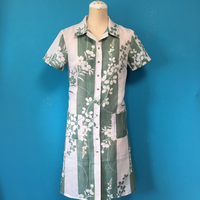 Vintage 麻の着物 シャツワンピース