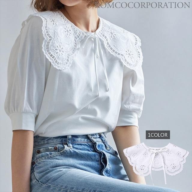 2021 新作商品 カットワーク刺繍付け襟(ホワイト)