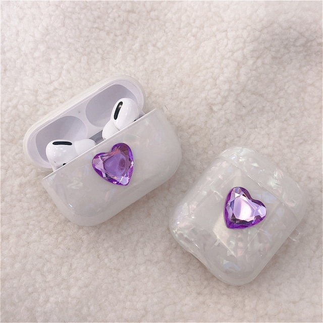 Crystal heart airpods case
