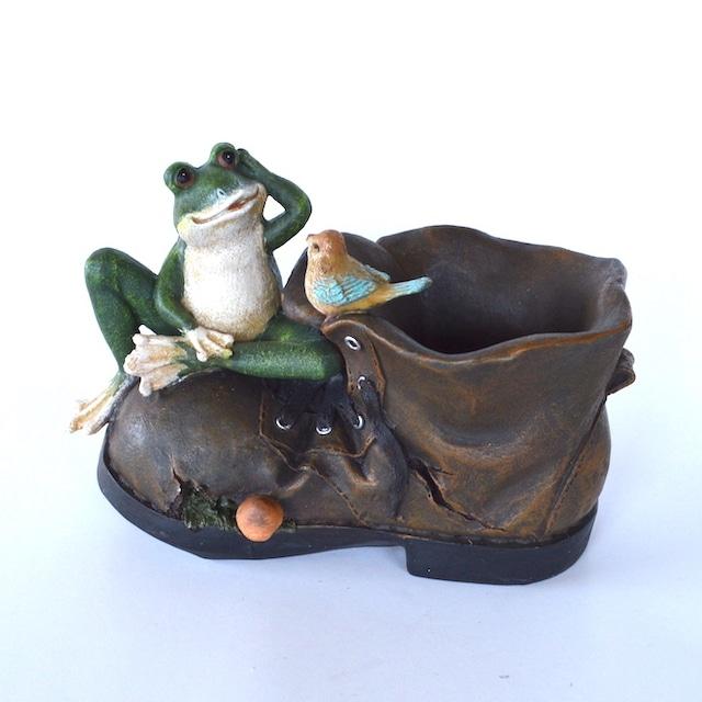 ブーツカエル 13641 かえる カエル 蛙 小鳥 アンティーク レトロ かわいい 癒し ガーデニング 幸運 玄関 屋外