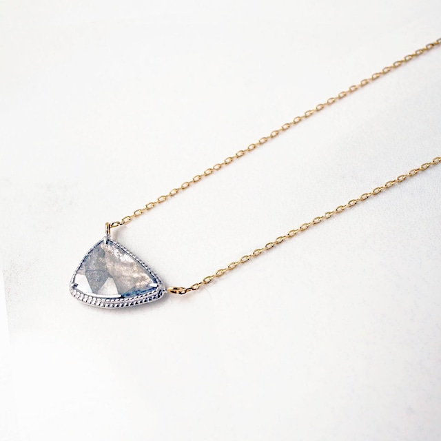 Sliced Diamond Necklace / White & Yellow Gold(N211-YWD)