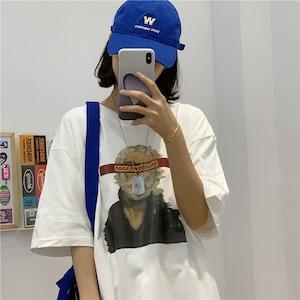 レトロピクチャープリントオーバーサイズTシャツ S4414