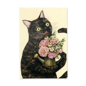 13.花とサビネコ ポストカード / Flowers and Tortoiseshell Cat Postcard