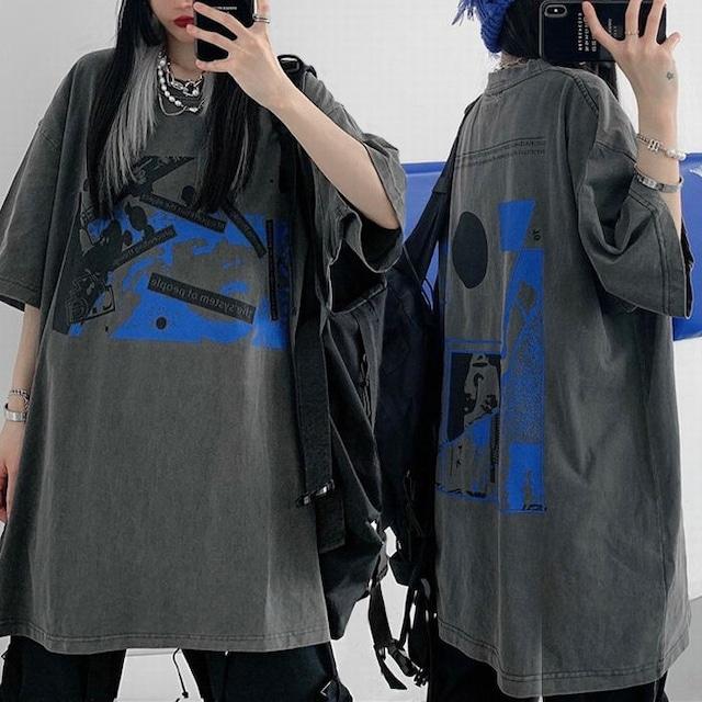 ユニセックス Tシャツ 半袖 幾何学 グラフィティプリント オーバーサイズ 韓国ファッション メンズ レディース トップス カジュアル ストリートファッション TBN-644775769961