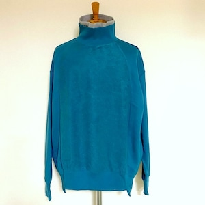 Sweat Layered Turtle Neck Pullover Blue Green