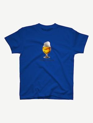 【ビールの中でしか・・・ウミガメ】Tシャツ(ロイヤルブルー)