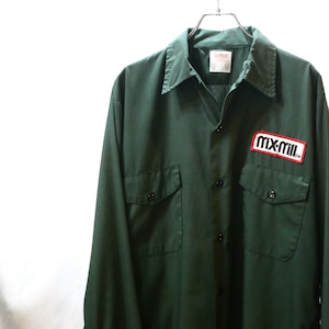 【USED】バックプリント 開襟 ワークシャツ 長袖