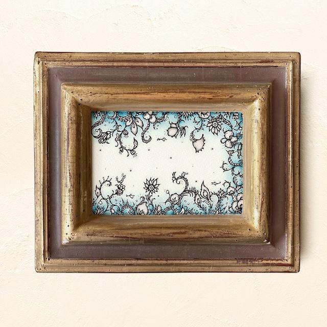 ミニ額縁 原画 【 月のベッドに、一雫落ちたとき 】gold x brown original frame ver.