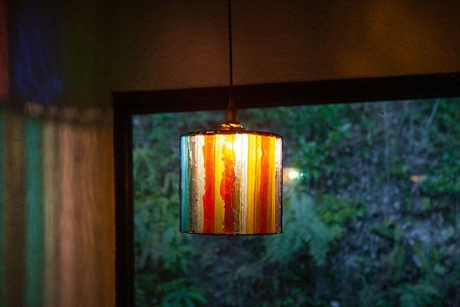 (限定)レインボー(ステンドグラスの吊りランプ)(ペンダントライト) 01010053