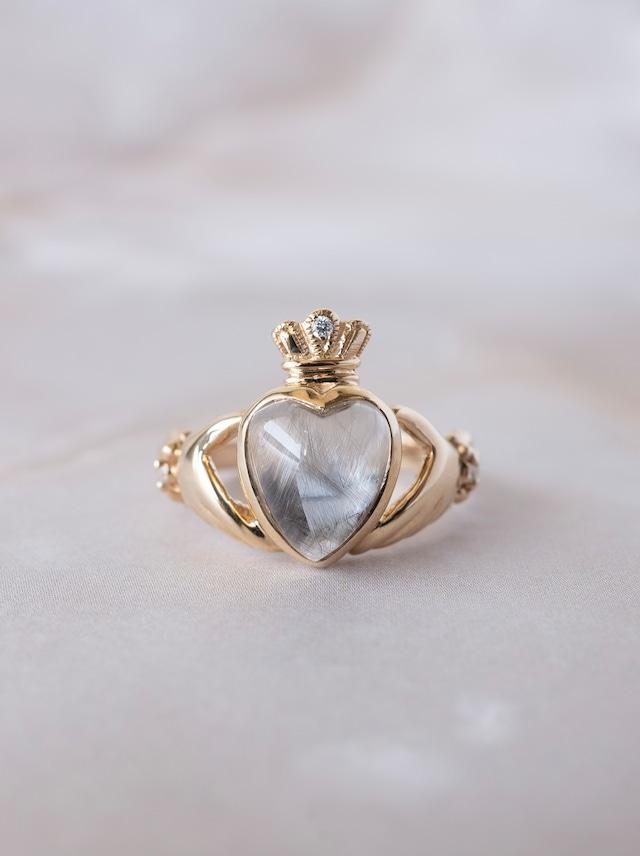 Brookite in Quartz Claddagh Ring