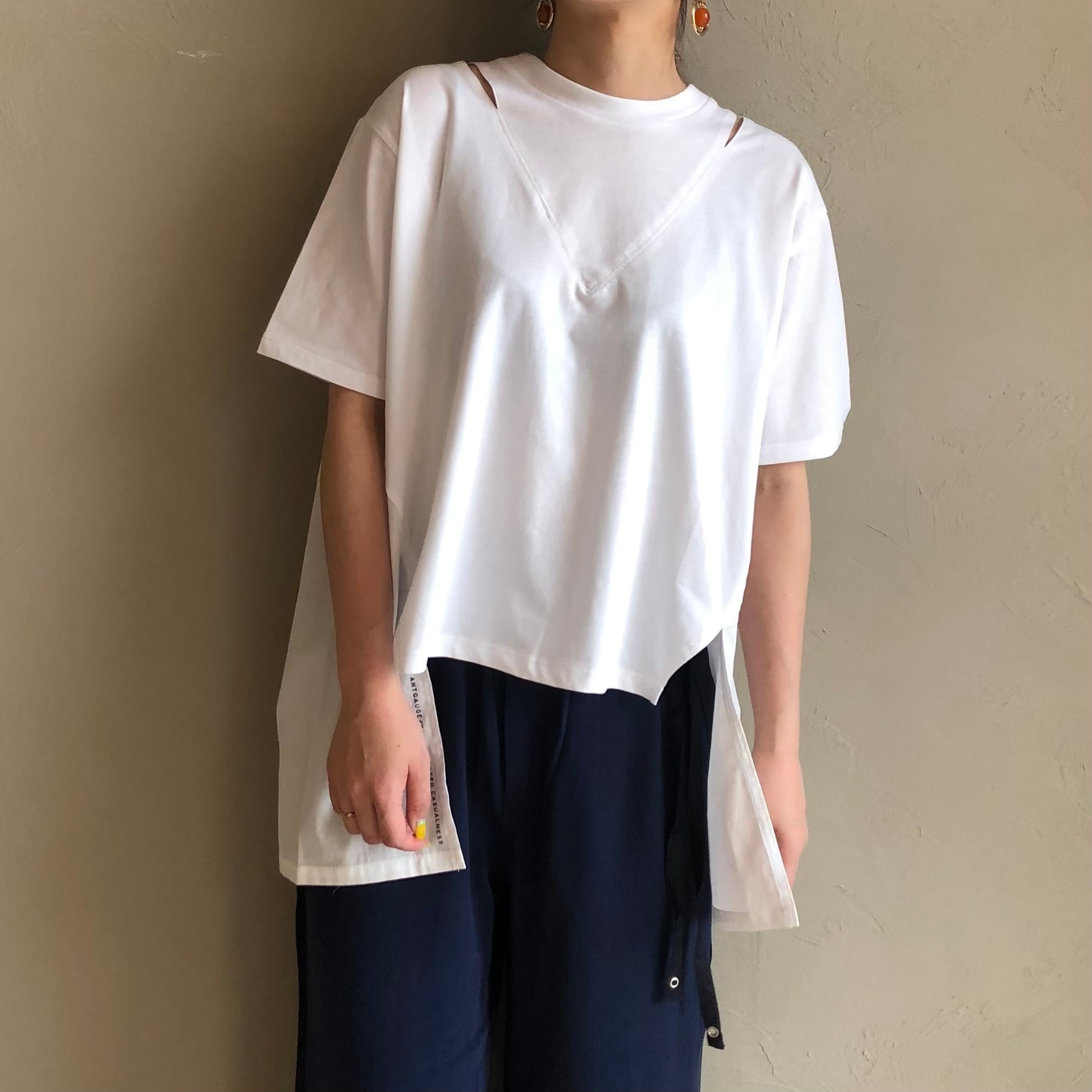 【 ANTGAUGE 】- AB959 - ネックスリット異素材ドッキングTシャツ