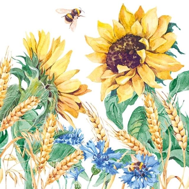 【Ambiente】バラ売り2枚 ランチサイズ ペーパーナプキン Sunflower And Wheat ホワイト