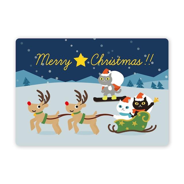 クリスマスカード ノワちゃんとおともだち サンタ