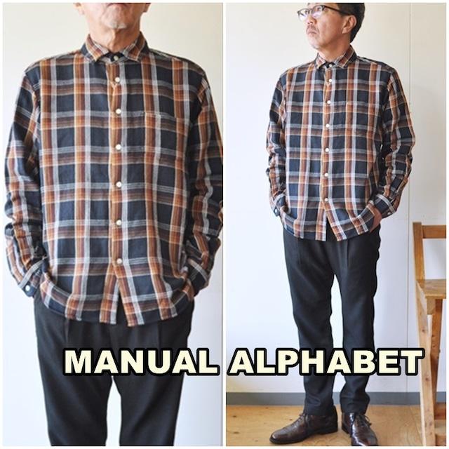 manualalphabet  マニュアルアルファベット ツイルシャツ チェックシャツ 長袖シャツ MA-S-582 TWILL CHECK LOOSE FIT