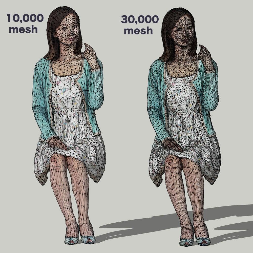 無料SketchUp素材 ポーズド3D人物モデル Free_091_Aya - 画像2