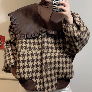 2色/ビッグレザー襟ジャケット ・19286