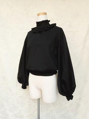 フリルブラウス カラレット襟のペザントトップス 黒