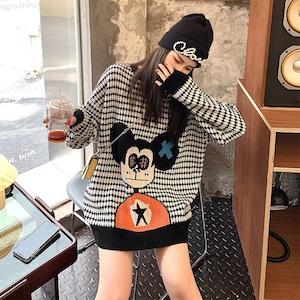 美感いっぱい 好感度満載 カートゥーンプリント 長袖  ニット セーター<ins-2303>