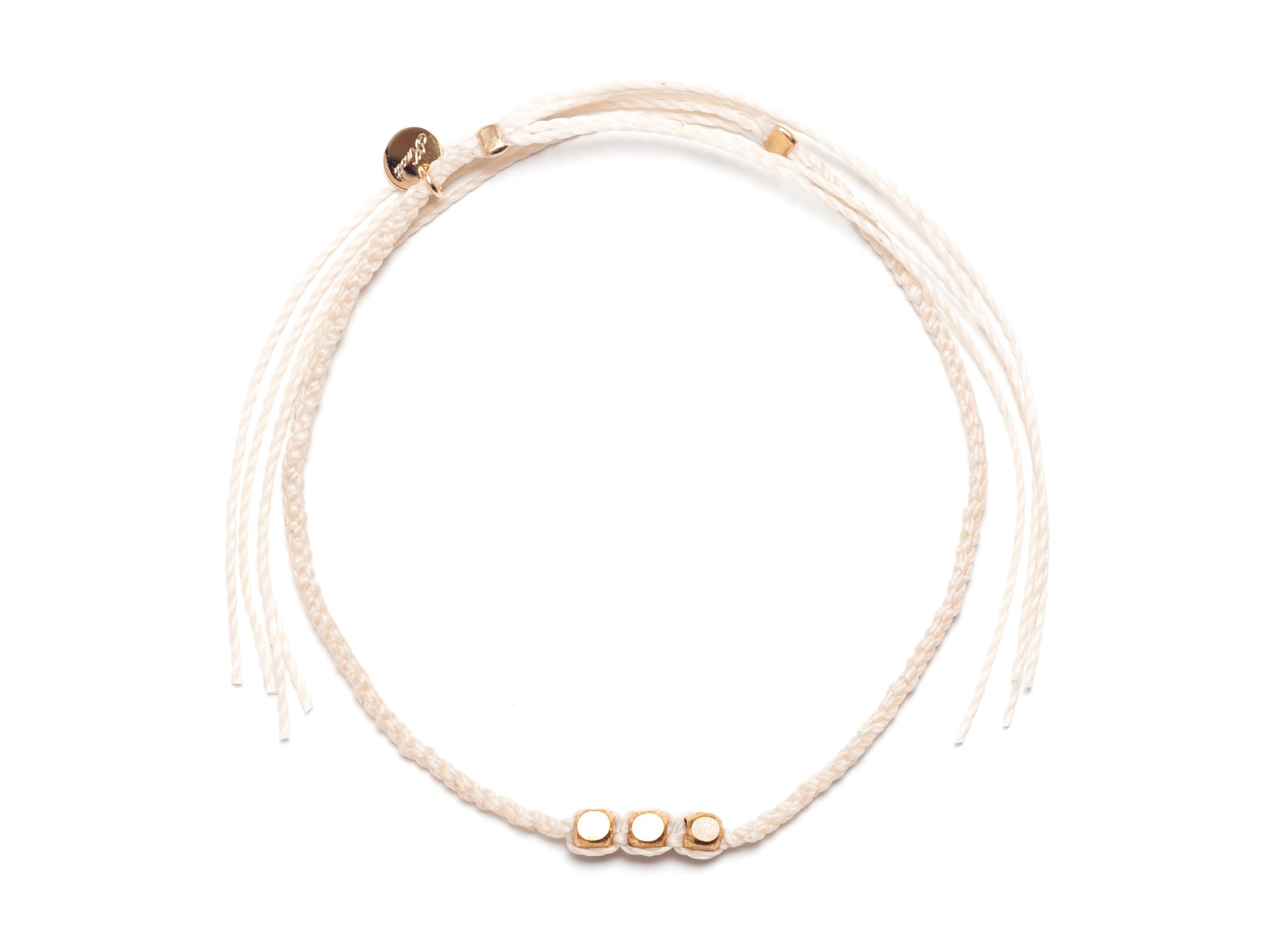 Brass Beads Misanga/White(Gold/Silver)(Bracelet/Anklet)[真鍮ビーズミサンガ]