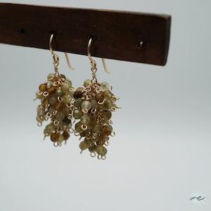 Forest-Earrings(Green Garnet)/K14 gf