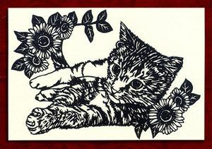 切り絵ポストカードno010 気になる猫(E-4-01510)