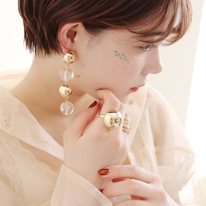 PIERCINGS || 【通常商品】 GOLD & CLEAR BALL PIERCINGS || 1 PIERCINGS || GOLD×CLEAR || FBB059
