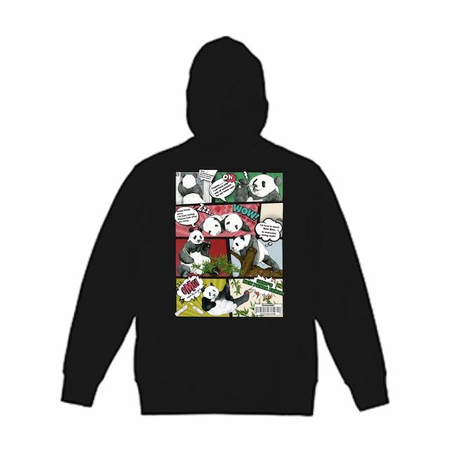 ◆受注生産◆「漫画風パンダファミリー」柄◆オリジナルデザインパーカー