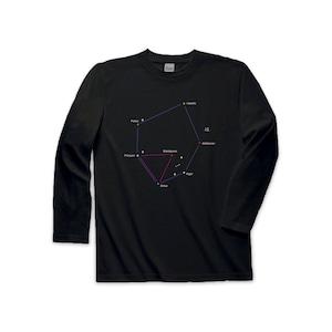 宇宙Tシャツ(長袖)-星座冬の大六角形&大三角形(黒)