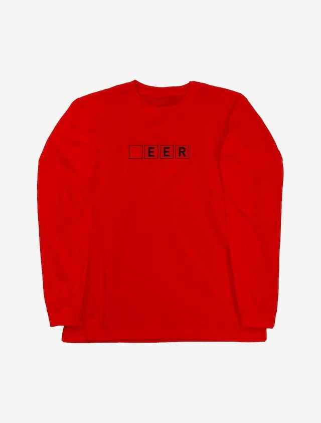 【□EER】ロングスリーブTシャツ(レッド)