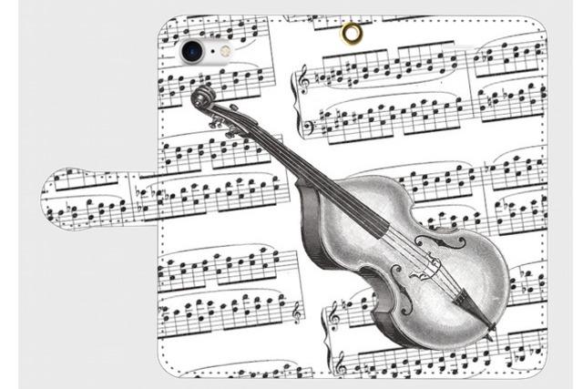 (iPhone用)コントラバスの手帳型スマホケース(楽譜)