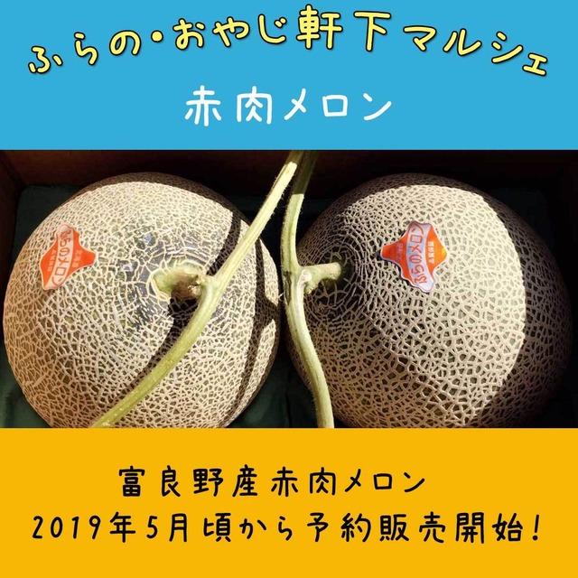 【ふらの・おやじ軒下マルシェ】赤肉メロン2玉