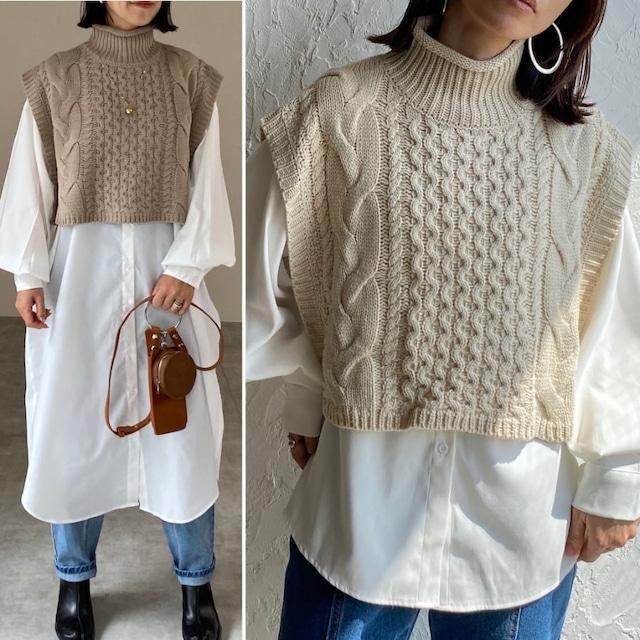 ◆即納◆ケーブルアラン編みざっくりショート丈ハイネックニットベスト OP-t248
