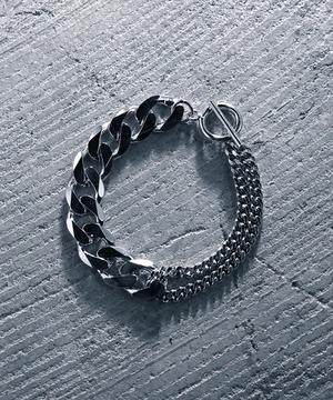Y2010KHB0907【YArKA/ヤーカ】silver925 more big flat & middle chain bracelet [BB1]/喜平チェーンミックスブレスレット シルバー925