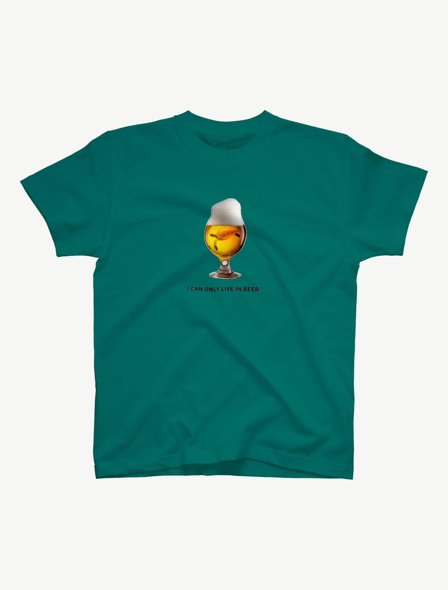 【ビールの中でしか・・・ウミガメ】Tシャツ(アップルグリーン)