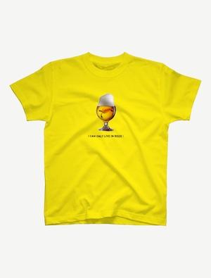 【ビールの中でしか・・・ウミガメ】Tシャツ(イエロー)