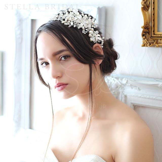 【受注生産品】スワロ使用 フローラルチャームの小枝ヘッドドレス ワルツ