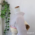 小千谷縮 浅滅紫の格子 単衣