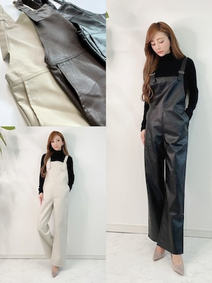 ★outletランクA★ レザーサロペット 定価¥8,250