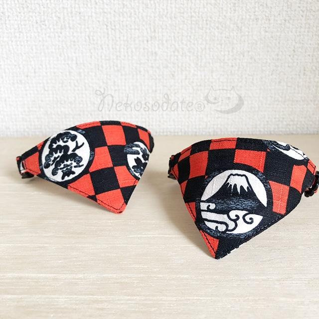 【縁起市松】猫用バンダナ風首輪/選べるセーフティバックル 猫首輪