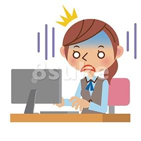 イラスト素材:パソコンを見てショックを受けるOL・事務職の女性(ベクター・JPG)