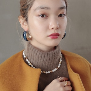 NECKLACE || 【通常商品】 PEARL AND GOLD STONE NECKLACE || 1 NECKLACE || GOLD×WHITE || FNOAL1205F