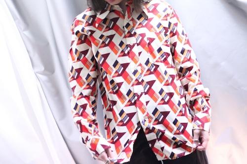 70's geometry pattern poly-shirt