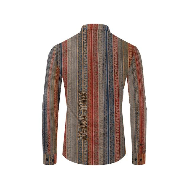 家紋ストライプブルーレッド メンズサイズ長袖シャツ