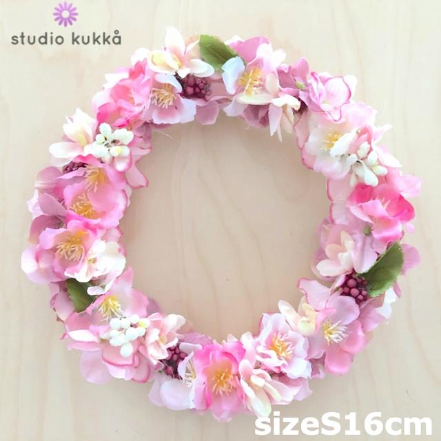 送料無料 <受注製作> 直径16cm♡さくらとアジサイのリース ホワイトベリー 桜 紫陽花 ピンクグラデーション