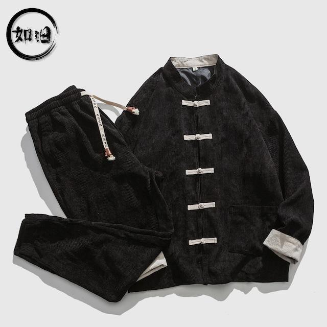 【如旧シリーズ】★セットアップ★ジャケット+ズボン メンズ 改良唐装 皺付きにくい チャイナボダン 大きいサイズ 黒 ネイビー グレー